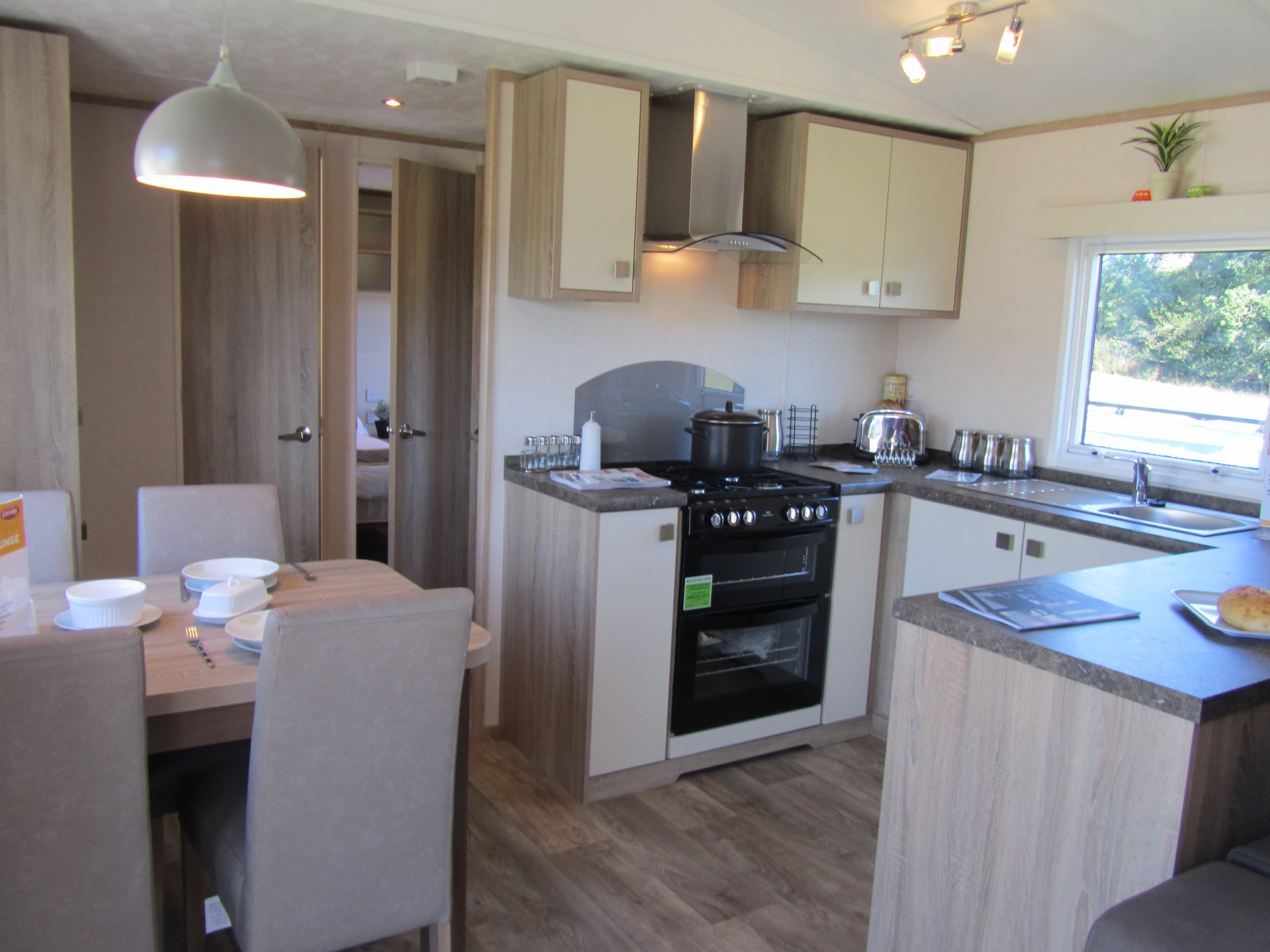 Kitchen with dining area opposite